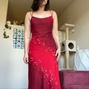 FLASH SALE** 90s Red Floral Dress